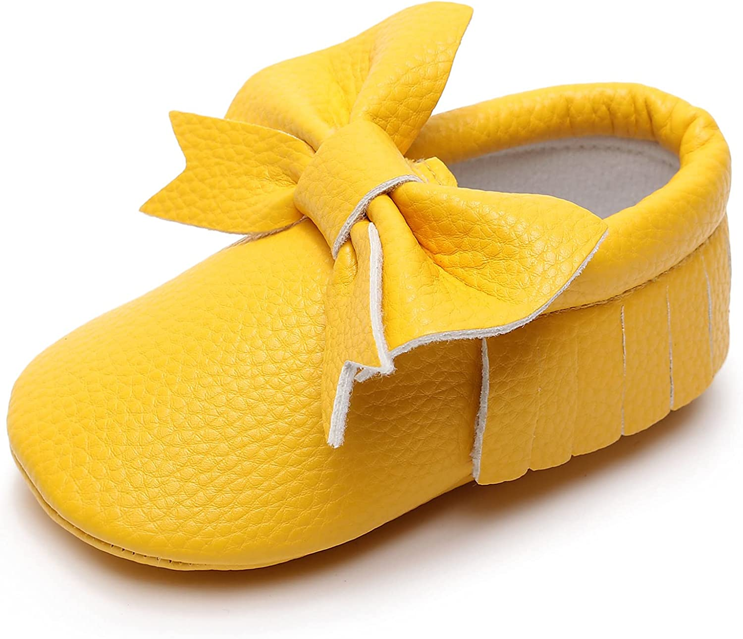 Beautiful Leather Moccasins with Bowknot and Fringe Little Boys and Girls Shoes with Soft Durable and Comfortable Sole for Infants/Toddlers/First Walker.