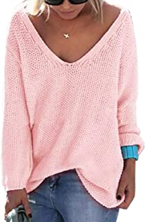 YOINS Sweaters for Women Sexy V Neck Long Sleeves Knit Tops Loose Casual Jumpers