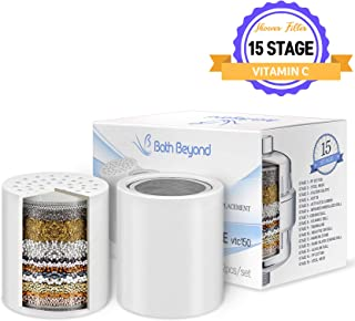 BathBeyond Pack of 2, 15-Stage Shower Filter Replacement Cartridge with Vitamin C for Hard Water - Shower Water Filter Removes Chlorine Fluoride and Improves The Condition of Your Skin, Hair