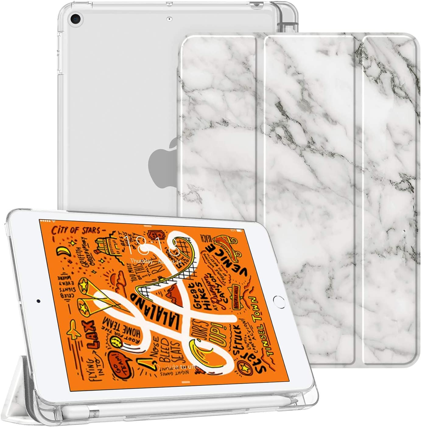 Fintie Case for iPad Mini 5 2019 - Lightweight Slim Shell Cover with Translucent Frosted Back Protector Supports Auto Wake/Sleep for iPad Mini 5th Generation 7.9 Inch, Marble White