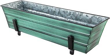Achla Designs C08-K4 Small Green Flower 2 x 4 Railings Window Box and Brackets