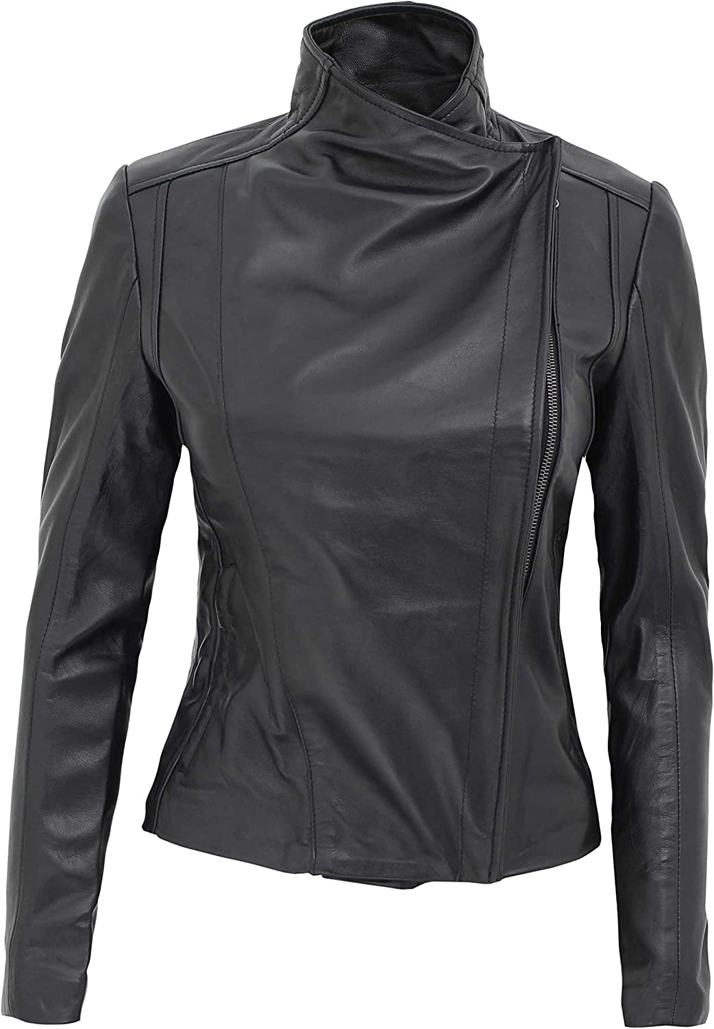 Fjackets Womens Motorcycle Leather Jackets - Real Lambskin Soft Leather Jakets for Women
