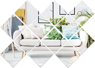 12 Pieces Removable Acrylic Mirror Setting Wall Sticker Decal for Home Living Room Bedroom Decor (15 x 15 cm)