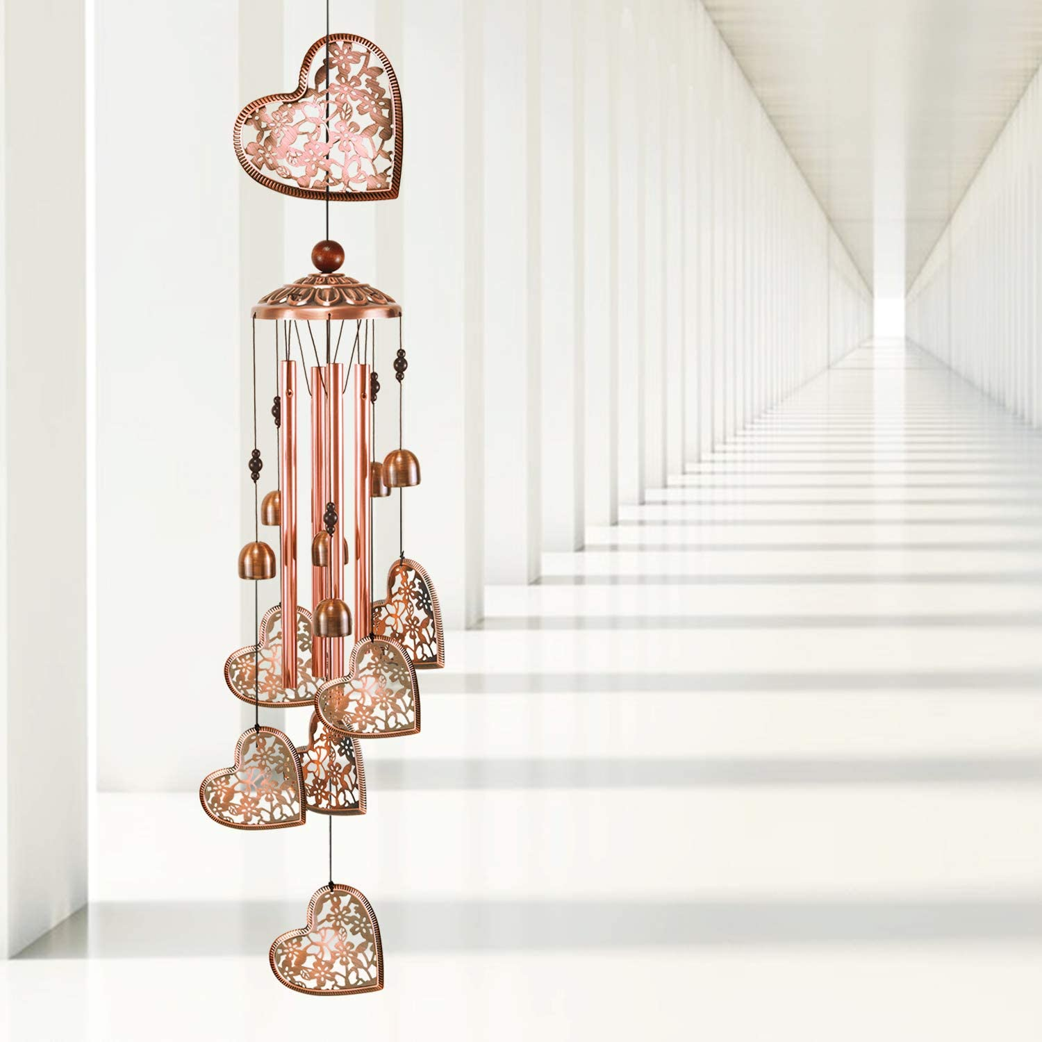 YMXBL Outdoor Max 64% OFF Heart Las Vegas Mall Wind Chimes Decoration for Gift Mom