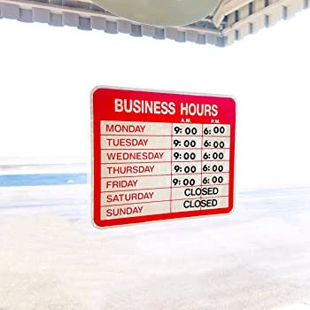 USS9573 Electrostatic Business Hours Sign Cling