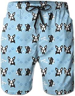 Mens Athletic Swim Trunks Skyline Dog Paw Beachwear with Pockets Polyester Chicago Flag