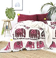 Fab Nation Elephant Cotton Double Bedsheet with 2 Big Pillow Covers,2 Embroidery Cushion Covers (Red Maroon Cream, Queen...