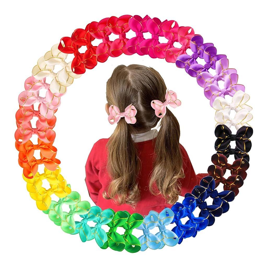 中にチョーク提案する40個 3インチ リボンヘアクリップ 小さなグログランリボンヘアリボン ゴールデンリム ベビーバレッタ 細い髪 幼児 赤ちゃん 女の子 幼児用 (20色ペア)
