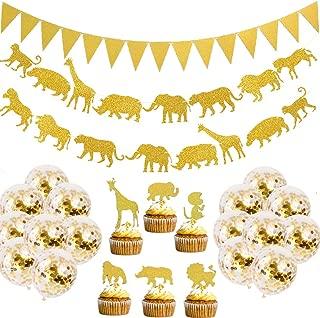 Jelacy Gold Jungle Safari Animal Banner- Gold Glitter Jungle Safari Animal Cupcake- Toppers Baby Shower Boys Girls Birthday Party Supplies Decorations, Zoo Themed Party Supplies Decorations