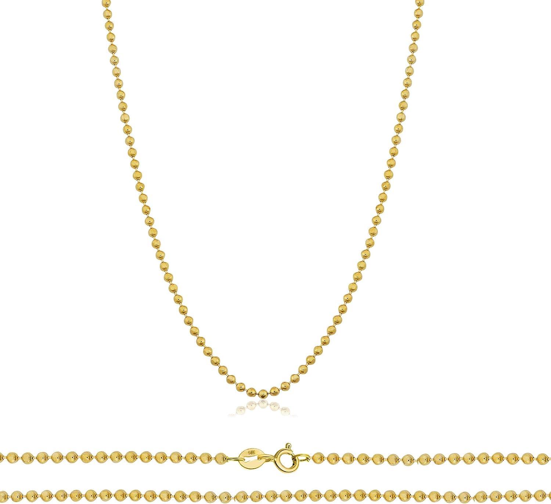 Orostar 14K Yellow Gold 1mm Diamond Cut Bead Chain Necklace, 16