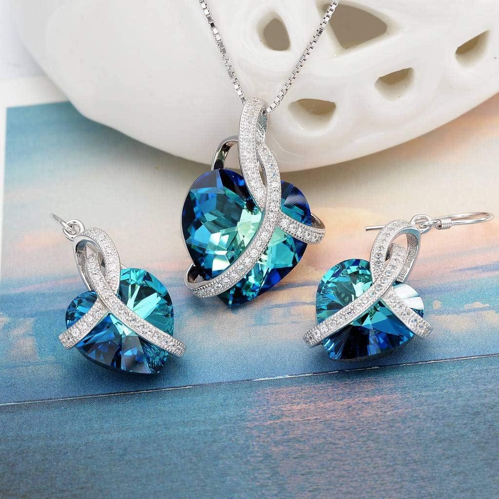 Clearine Parure Faitaisie C/œur de la Mer Diamant/é Bijou Femme /Él/égant Argent 925 Cristal Strass Collier Boucles dOreilles Ensemble Cadeau