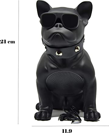 Altavoz Perro Bulldog Frances inalambrico Bluetooth portatil, Tarjeta SD, Pendrive, FM Radio, mp3