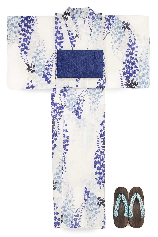 (ソウビエン) 浴衣 セット レディース 白 ホワイト 青紫色 薄藍 藤 花 綿麻 半幅帯 マクレ ボヌールセゾン