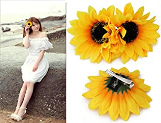 6PCS 4 inch Yellow Sunflower Hair Alligator Hairpin Hair Clips Clamp Barrettes Styling Accessories Ties Tools For Women Lady Girls Party Beach Vacation Wedding Bridal