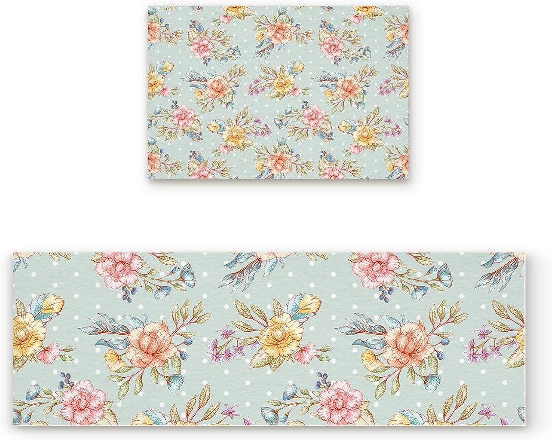 Aomike 2 Piece Non-Slip Kitchen Mat Rubber Backing Doormat Retro Flower and Dots Pattern Runner Rug Set, Hallway Living Room Balcony Bathroom Carpet Sets (23.6  x 35.4 +23.6  x 70.9 )