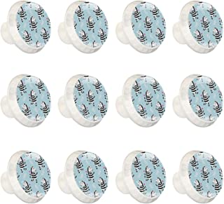 Boutons D'armoire 12 Pcs Poignés Poignée De Champignons Porte Poignées avec Vis pour Cabinet Tiroir Cuisine,Motif Zebra de...