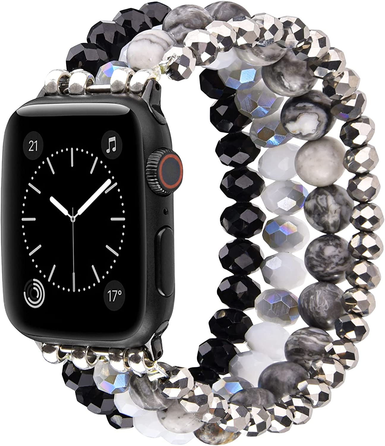Glittering Beaded Compatible with 40mm 44mm Apple Watch SE Series 6/5/4 Bands, iWatch Series 3/2/1 38mm 42mm Bracelets, CAGOS iPhone Watch Band for Women