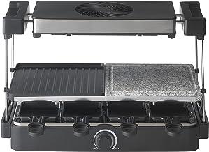 Trebs Raclette Grill 15100 - Raclette avec hotte - Grill en pierre - Teppanyaki - 8 poêlons à raclette - Double revêtement...