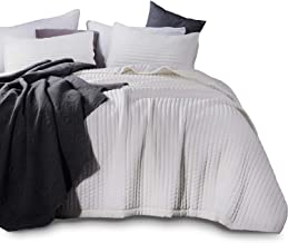 Kasentex Quilt Mini Set-Stone Washed-Super Soft Bedspread-Light Weight-Hypoallergenic-White Down Alternative Microfiber Fill-Machine Washable-Solid Colors, Full/Queen + 2 Shams, Ivory