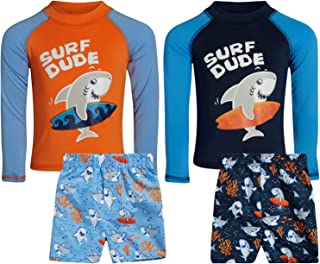 Sweet and Soft Boys 4-Piece Rash Guard and Trunk Swimsuit Set – Long Sleeve (Infant/Toddler/Big Kid)