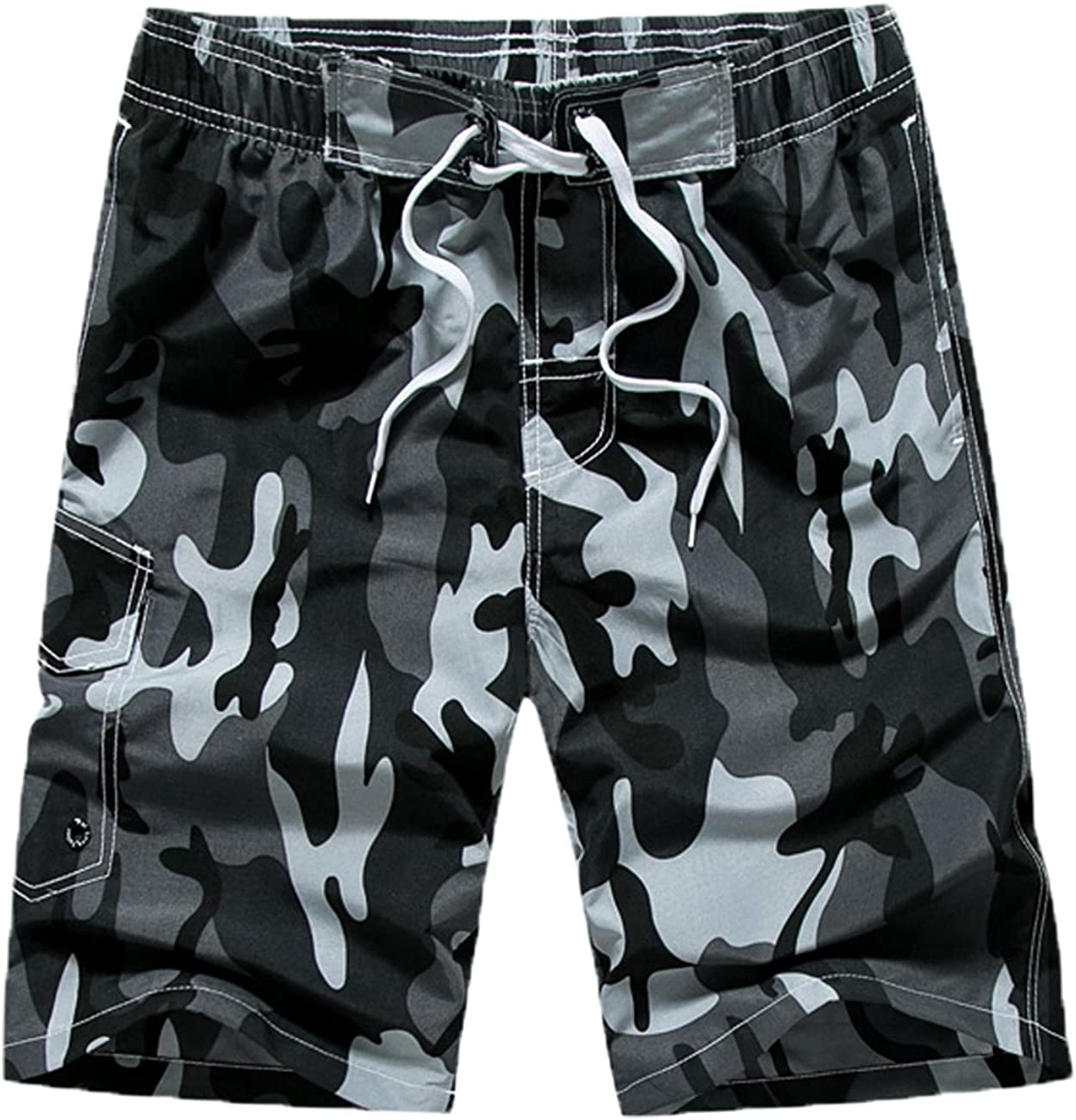 Benefeet Sox Mens Quick Dry Swim Trunks Beach Shorts Novelty Camou Swimwear with Mesh Lining Bathing Suits: Clothing