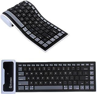 QSJi Teclado Bluetooth Plegable Mini, Teclado Inalámbrico Portatil Impermeable Flexible Teclado Silicona USB Mini Teclado Inalambrico para iOS, Android, Windows, Smartphone (Negro)