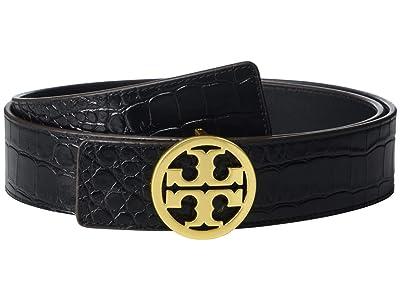 Tory Burch 1.5 Embossed Croc Logo Belt (Black) Women