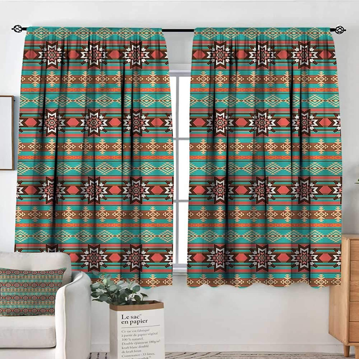 RenteriaDecor Aztec,Girs Room Backout Curtains Abstract Snowflake Motifs 42 X63  Therma Insuated Curtain Panes