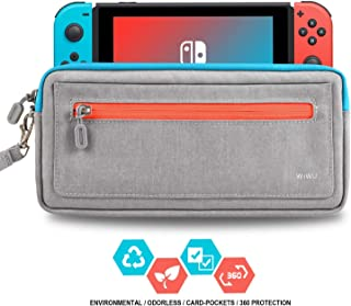Slim Nintendo Switch Case,WiWU Switch Case with 5 Game Slots in Side Pocket Portable Travel Carry Case Waterproof Scratch-Resistant Protective Sleeve Pouch Bag for Nintendo Switch & Accessories,Gray