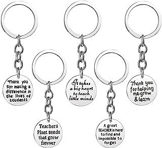 5 Pieces Teacher Gifts Teacher Appreciation Gifts Keychains Charm Jewelry Key Tags Key Chains for Women Teachers