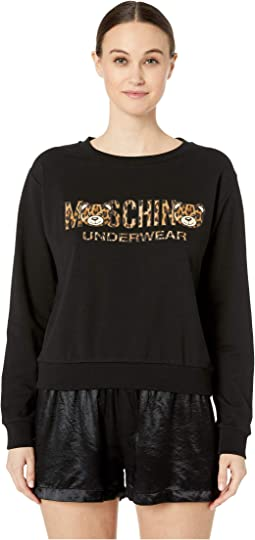 Cotton Fleece Sweatshirt w/ Tiger Teddy Bear Lettering