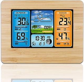 Konesky Estación meteorológica inalámbrica, Termómetro de Temperatura Barómetro Digital Interior Temperatura Exterior Hume...
