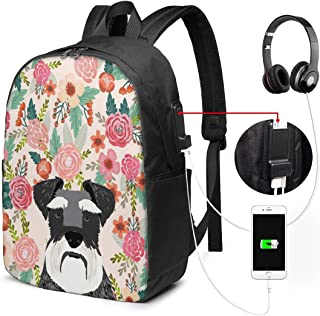 Backpack Schnauzer Dog Floral Pattern Flower USB Backpack Durable Laptop Backpack Portable Travel Backpack Waterproof Shoulder Bag with Side Pockets & Comfortable Strap for Women Men