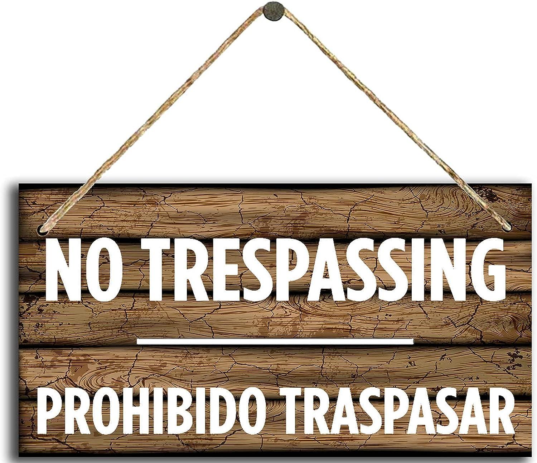 Dreacoss Placa de madera rústica para colgar en la pared, no trampa, letreros de madera, prohibido traspasar tablón cartel proteger la placa familiar para granja puerta de garaje 30,5 x 15,2 cm