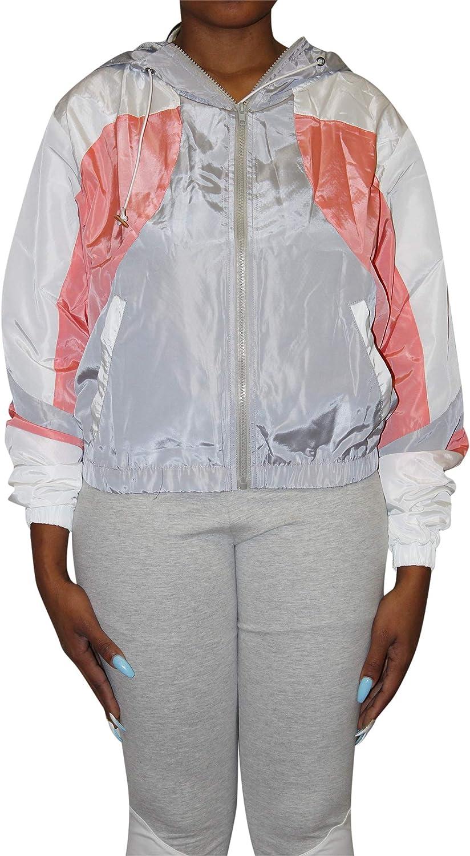 Allure LUXE Women's Full Zip Colorblock Windbreaker Nylon Jacket