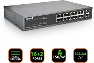 18 Ports Unmanaged PoE Switch, 16 Ports Fast PoE+ Switch and 2 Ports Gigabit Uplink, Power Over Ethernet Plus with 19 Inches Rackmount and Desktop, Metal Housing, Total Budget 150W, 802.3at/af