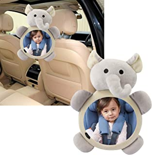 Baby Car Mirror Shatter-Proof Rearview Baby Mirror-Easily to Observe The Baby's Every Move Cute Cartoon Safety