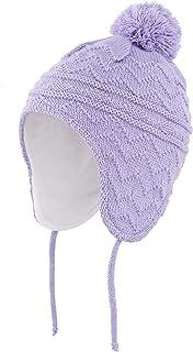 قبعة أطفال محبوكة مبطنة بالصوف للأولاد والبنات مع غطاء أذن قبعة شتوية