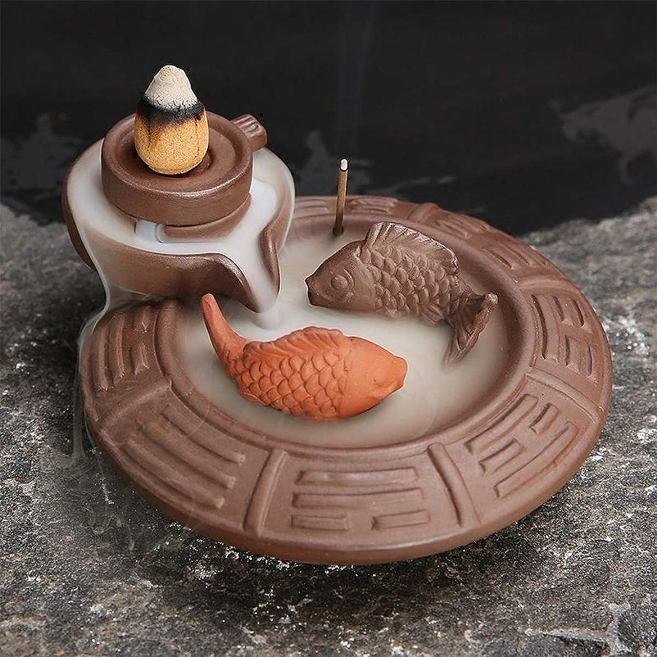 誘惑ここに簡単に(Fish) - Jeteven Ceramic Fish Backflow Incense Burner, Incense Cones Sticks Holder, Ideal for Yoga Room, Home Decoration & Handicraft Gift