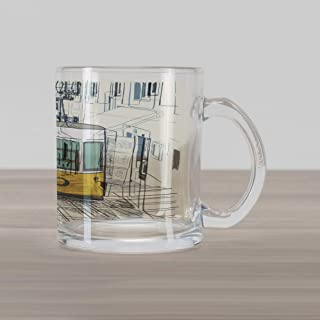 Lunarable Urban Glass Mug, Sketch Style City Scenery with Street Bus in Town Lisbon Modern Artwork, Printed Clear Glass Coffee Mug Cup for Beverages Water Tea Drinks, Petrol Blue Mustard