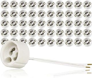 Portalámparas GU10 base para lámpara de cerámica con manguitos de cable. VDE RoHS 230-250 voltios 2A máx. 100W para lámparas halógenas y LED de ISOLATECH, aquí: 50 piezas