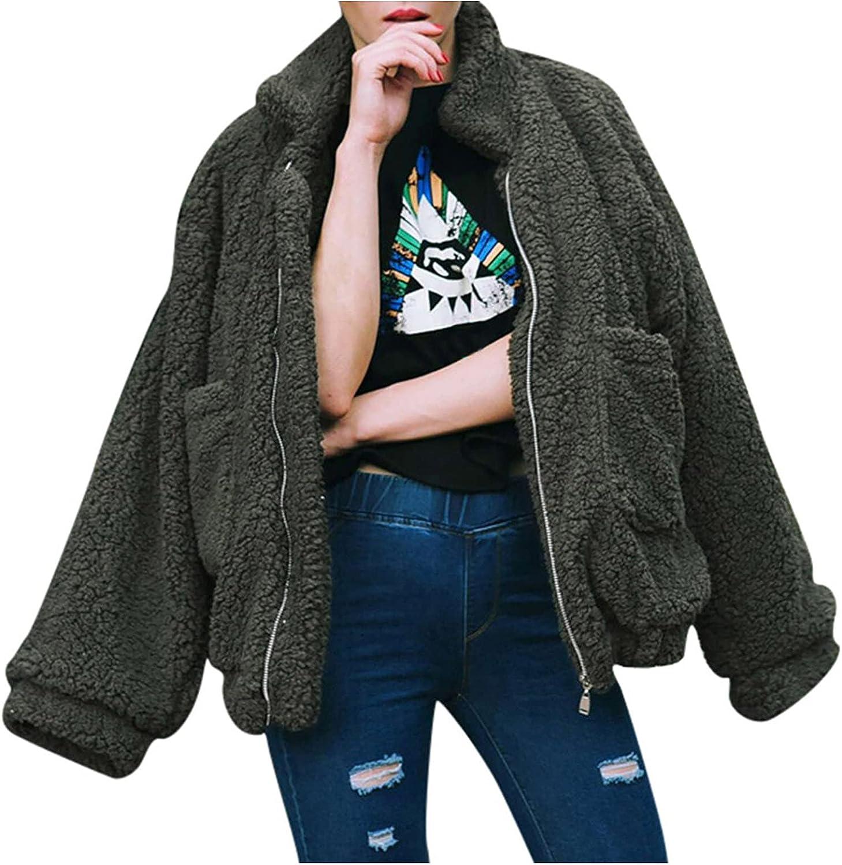 Women Lapel Faux Fur Coat Winter Fuzzy Fleece Jacket Open Front Cardigan Full Zip Coats Oversize Warm Outwear