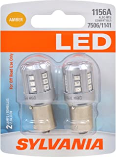 SYLVANIA - 1156 LED Amber Mini Bulb - Bright LED Bulb, Ideal for Park and Turn Lights (Contains 2 Bulbs)