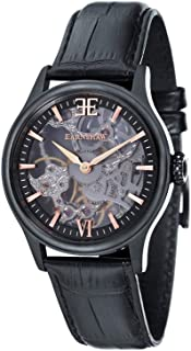 Thomas Earnshaw Men's Bauer Stainless Steel Mechanical-Hand-Wind Watch with Leather Strap, Black, 22 (Model: ES-8061-06