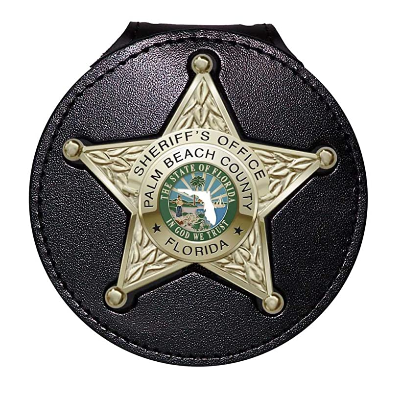 Perfect Fit Florida Sheriff 5-Point Star Badge Holder with Pocket and Chain (Black, Cutout PF185, 2.7 inches Tall)