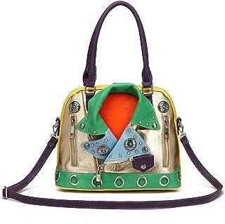 Cowgirl Trendy Motorcycle Biker Handbag Concealed Carry Purse Colorblock Jacket Shoulder Bag