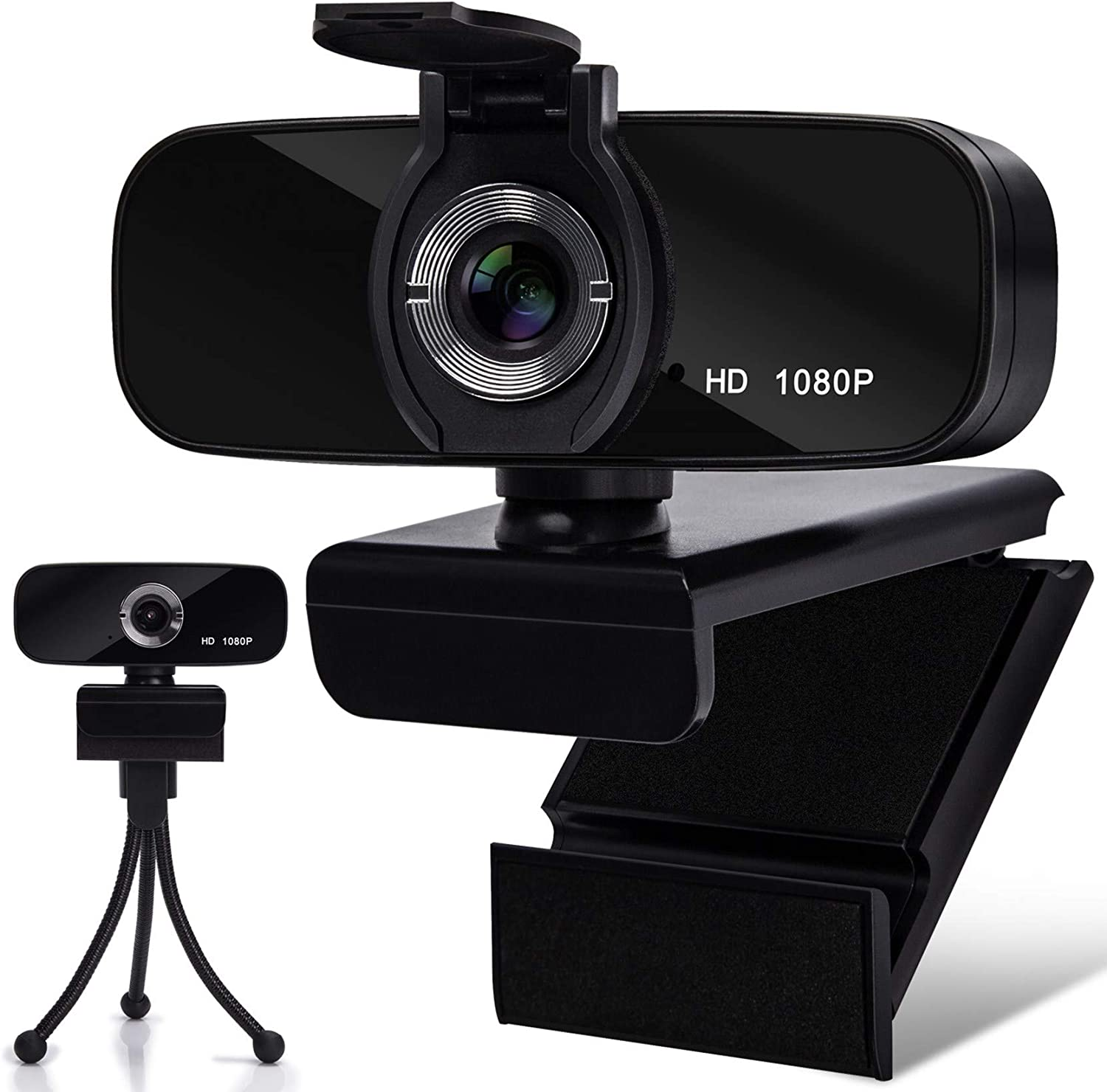 Webcam with Microphone, 1080P HD Webcam with Privacy Cover and Tripod, Computer HD Streaming Webcam, USB Web Camera for Calling & Recording Conferencing/Business Meeting/Gaming