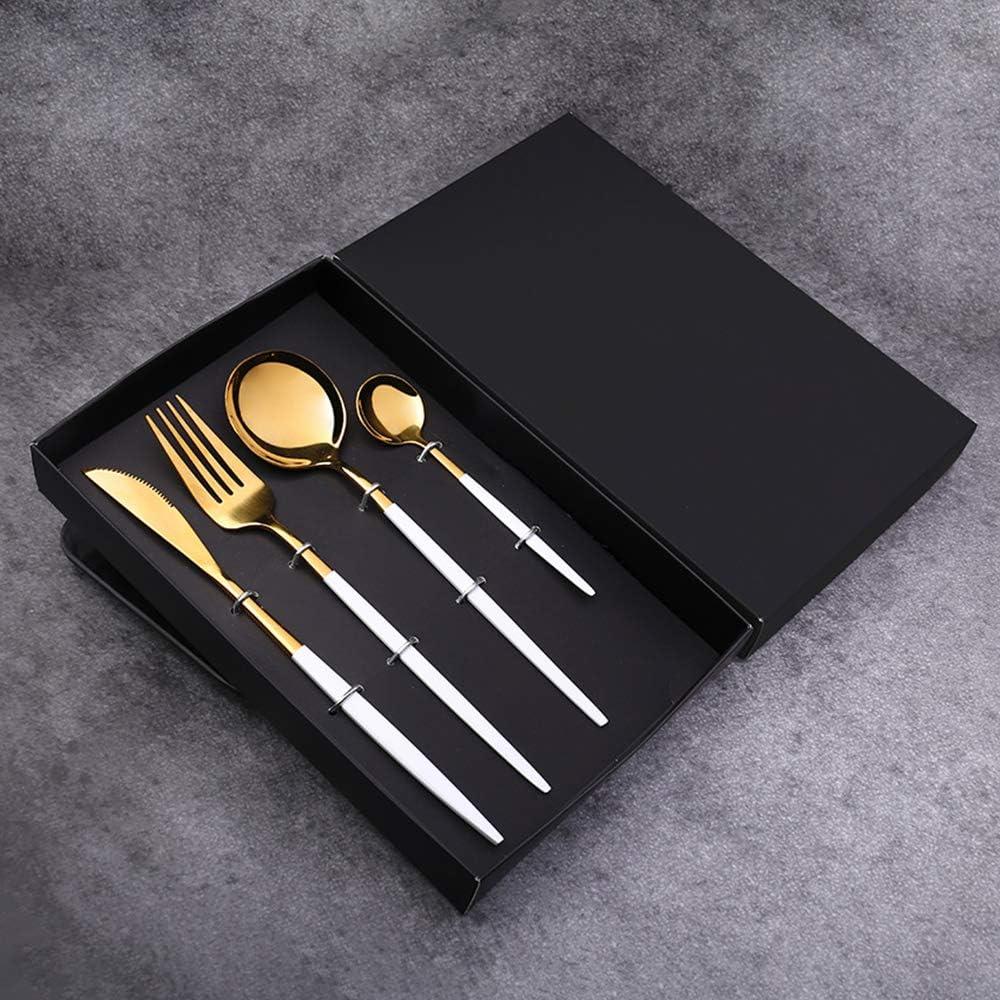 Juego de Cubiertos de 4 Piezas, Cubertería Acero Inoxidable con Cuchillos Chuleteros, Tenedores, Cuchara para la Cena y cucharadita, Juego de vajilla de Regalo (Blanco-Dorado)