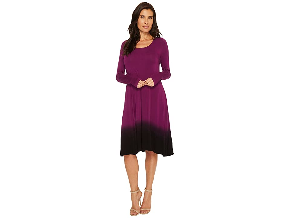 Mod-o-doc Rayon Spandex Jersey Dip-Dye Long Sleeve Swing Dress (Jam) Women