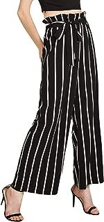 Women's Frilled Waist Striped Print Palazzo Pants
